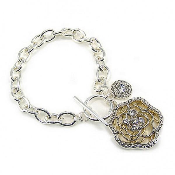 Bracelets - Toggle Closure Flower Bracelets - BR-OB01506TTCRY