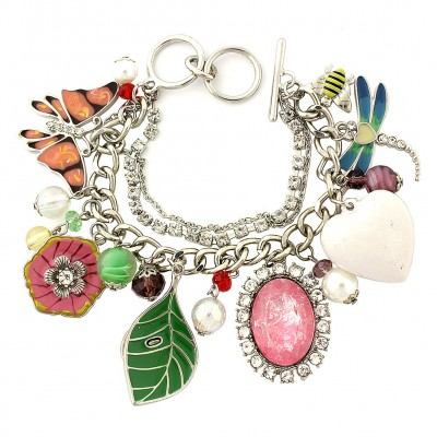 Charm Bracelet - Insect Charms - Multiple Chains w/ Toggle Closure - BR-OB02053RDMUL