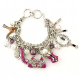 Charm Bracelet - Fashion Accessories Charms - Multiple Chains w/ Toggle Closure -BR-OB02055RDPNK