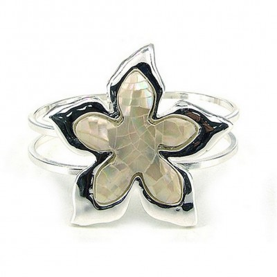 Hinge Bracelets - Mother of Pearl Flower Bracelets - BR-OB02065MPWHT