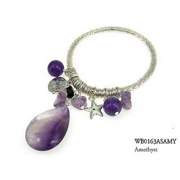 Charm Bracelets - Semi Precious Stone Bracelets - Amethyst Clarity - BR-WB0163ASAMY