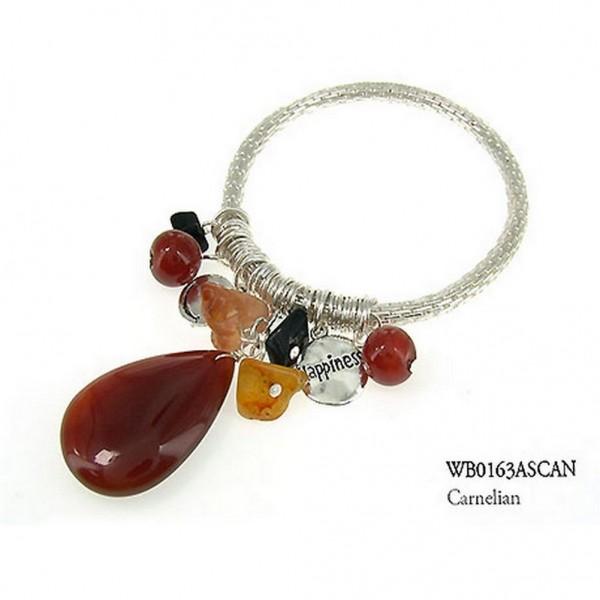 Charm Bracelets - Semi Precious Stone Bracelets - Carnelian Happiness - BR-WB0163ASCAN