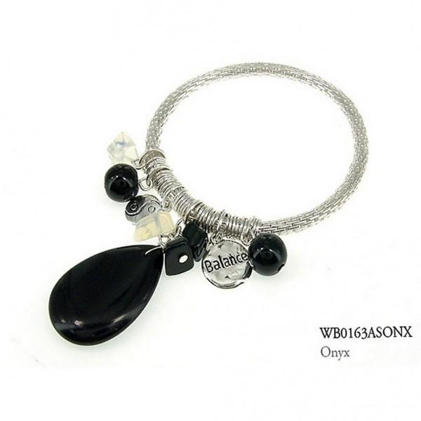 Charm Bracelets - Semi Precious Stone Bracelets - Onyx Balance - BR-WB0163ASONX