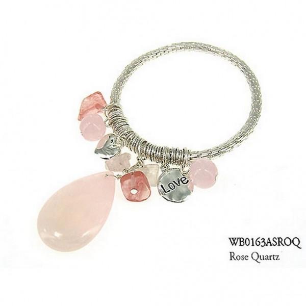 Charm Bracelets - Semi Precious Stone Bracelets - Rose Quartz Love - BR-WB0163ASROQ