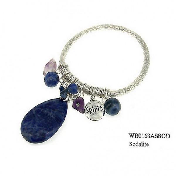 Charm Bracelets - Semi Precious Stone Bracelets - Sodalite Spirit - BR-WB0163ASSOD