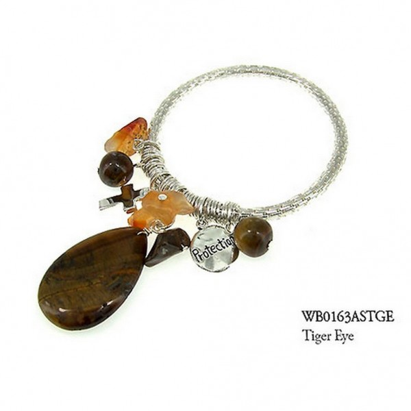 Charm Bracelets - Semi Precious Stone Bracelets - Tiger Eye Protection - BR-WB0163ASTGE