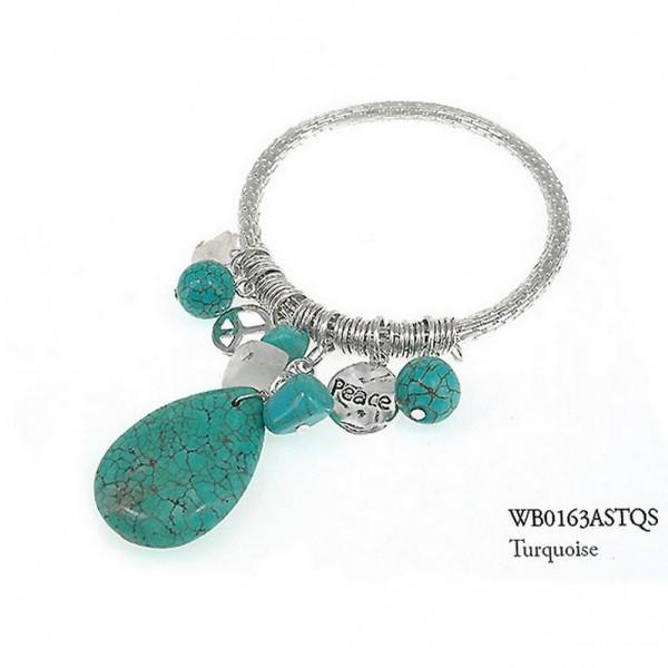 Charm Bracelets - Semi Precious Stone Bracelets - Turquoise Peace - BR-WB0163ASTQS