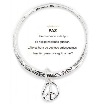 Religious Twist Bracelets w/ Peace Charm - BR-OB00387AS