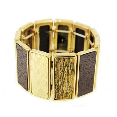 Casting Silver Deco Design Bar Stretchable Bracelet - Gold Multi - BR-ACQB2069GM