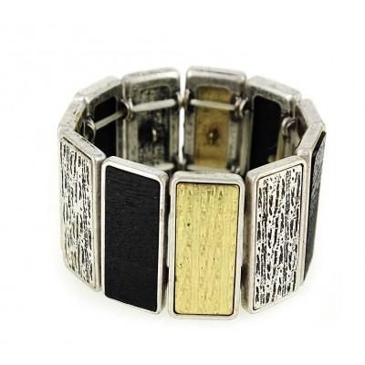 Casting Silver Deco Design Bar Stretchable Bracelet - Silver Multi  - BR-ACQB2069SM