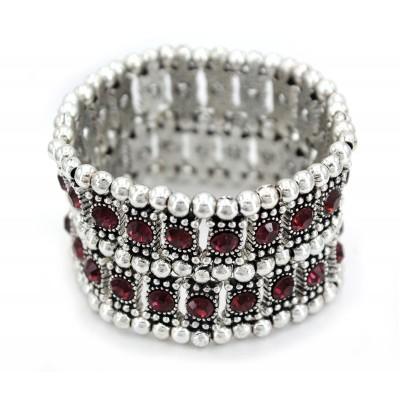 Stretchable Rhinestone Bracelets - Double-Row w/ Bali Beads - Purple - BR-KH11255PL