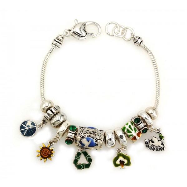 Go-Green Charm Bracelets w/ Multi-beads - BR-OB00071ASMUL