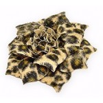 Brooch – Faux Fur Fabric Leopard Print Flower - BC-0051