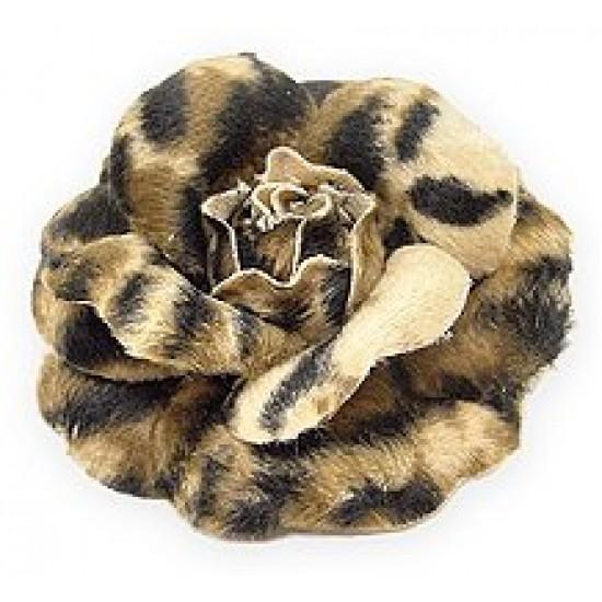 Brooch – Faux Fur Fabric Leopard Print Rose - BC-0052