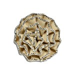 Brooch – Suede-like Rose w/ Silver Beads Trim - Beige - BC-ABO25097BE