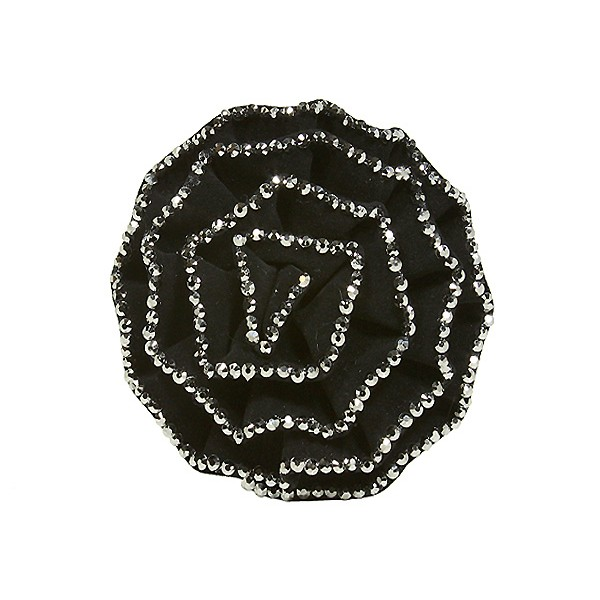 Brooch – Suede-like Rose w/ Silver Beads Trim - Black - BC-ABO25097BK