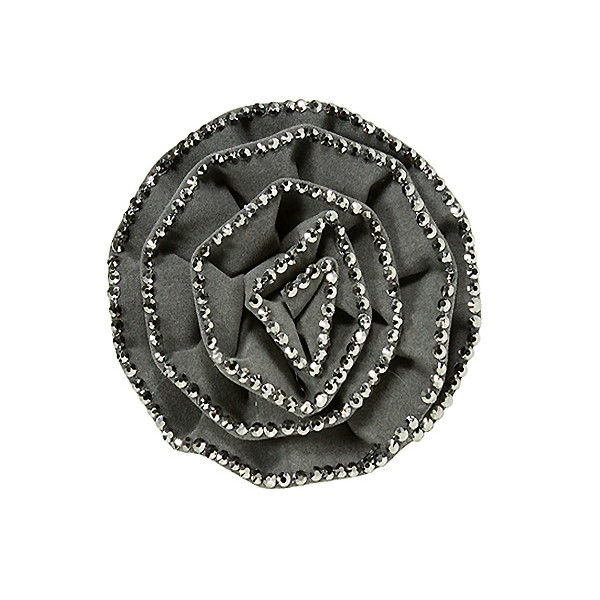 Brooch – Suede-like Rose w/ Silver Beads Trim - Grey - BC-ABO25097GY