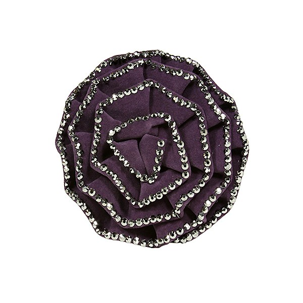 Brooch – Suede-like Rose w/ Silver Beads Trim - Purple - BC-ABO25097P