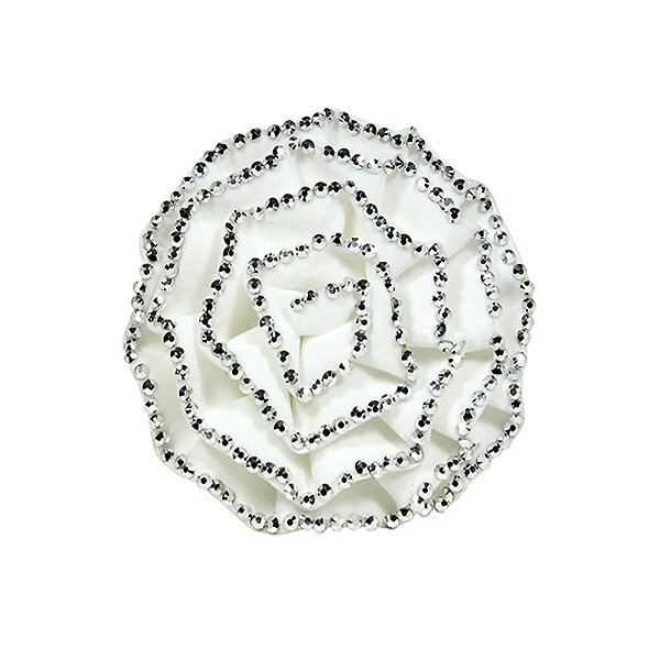 Brooch – Suede-like Rose w/ Silver Beads Trim - White - BC-ABO25097W