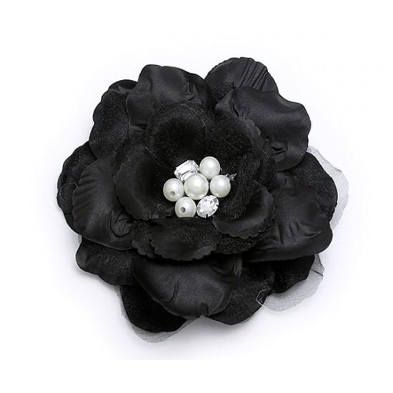 Brooch – Silk Flower w/ Faux Pearl Beads - Black - BC-ABO25113BK