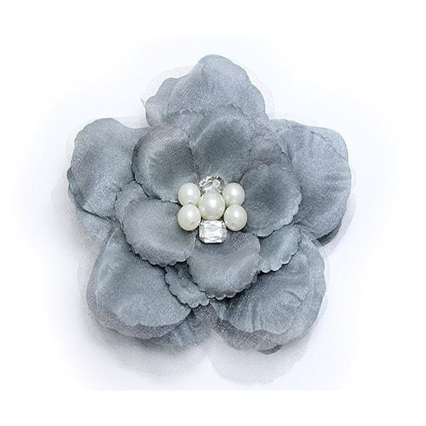 Brooch – Silk Flower w/ Faux Pearl Beads - Grey - BC-ABO25113GY