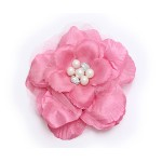 Brooch – Silk Flower w/ Faux Pearl Beads - Pink - BC-ABO25113PK