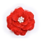 Brooch – Silk Flower w/ Faux Pearl Beads - Red - BC-ABO25113R