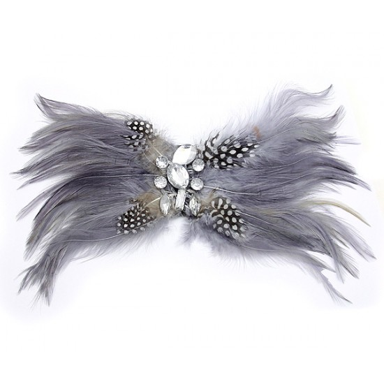 Brooch – Feather w/ Clear Beads - Grey - BC-ABO25114GY