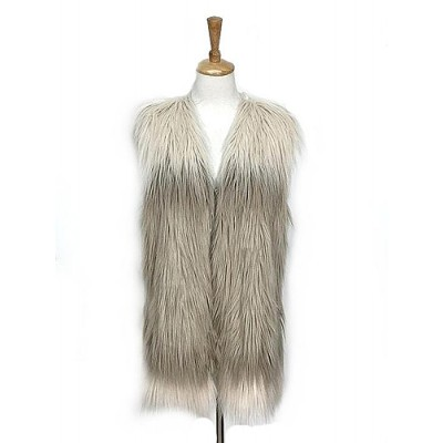 Cardigans & Vests - Faux Long Fur Vest – 2 Tones - VT-9353-1