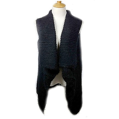 Cardigans & Vests - Knitted Cardigan - Black -VT-9402-2BK
