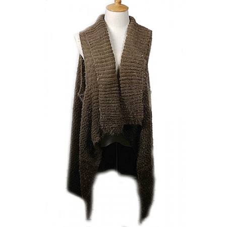 Cardigans & Vests - Knitted Cardigan - Brown - VT-9402-4BN