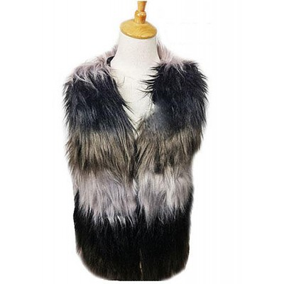 Cardigans & Vests - Faux Long Fur Vest – Multi Color - VT-9421-1