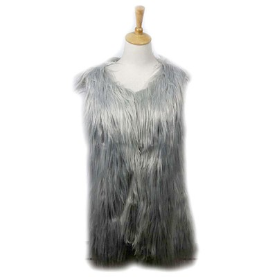 Cardigans & Vests - Faux Long Fur Vest – Solid Light Grey - VT-9452-1