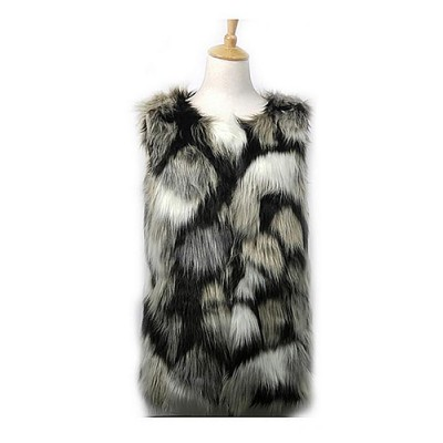 Cardigans & Vests - Faux Long Fur Vest – Multi Color - VT-9453-1