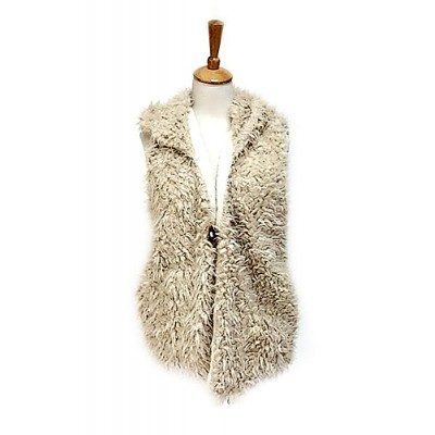 Cardigans & Vests - Faux Sheep Fur Vest w/ Hood - VT-9461-1