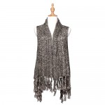 Cardigans & Vests - Knitted Cardigan with Tassels -Black - VT-AO624BK