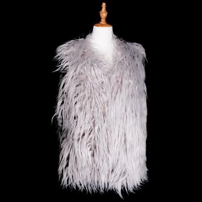 Cardigans & Vests - Faux Long Fur Vest - Grey - VT-AO637GY