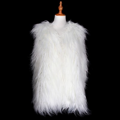 Cardigans & Vests - Faux Long Fur Vest - White - VT-AO637WT