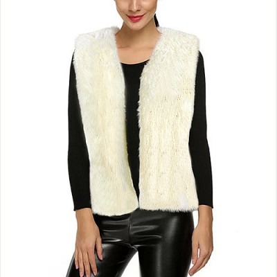 Women Sleeveless Faux Fox Fur Vest - Ivory - VT-AO639IV