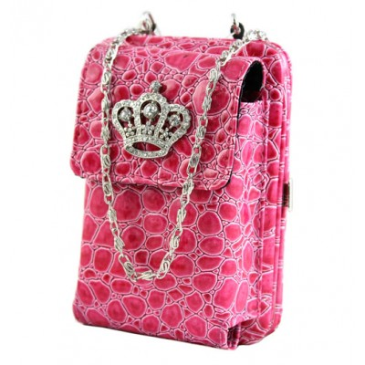 Cell Phone Pouch - Croc Embossed w/ Crown Charm - Fuchsia - PH-HX00025FU