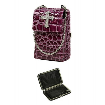 Cell Phone Pouch - Croc Embossed w/ Cross Charm - Purple - PH-HX00027PU