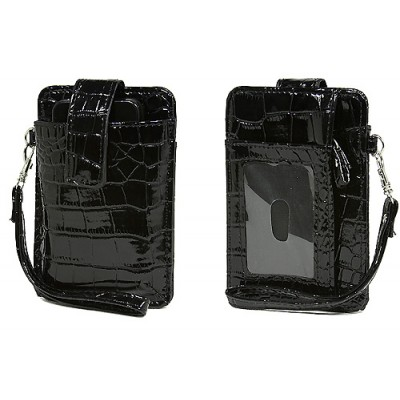 Cell Phone Pouch - Croc Embossed w/ Wristlet & ID Window Slot - Black -PH-IP4-CR-BK