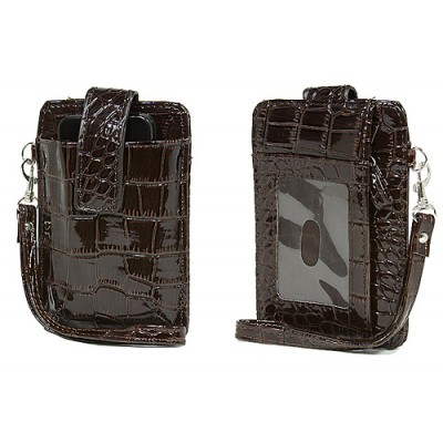 Cell Phone Pouch - Croc Embossed w/ Wristlet & ID Window Slot - Brown -PH-IP4-CR-BR
