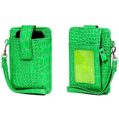 Cell Phone Pouch - Croc Embossed w/ Wristlet & ID Window Slot - Green -PH-IP4-CR-GN