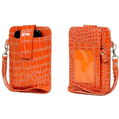 Cell Phone Pouch - Croc Embossed w/ Wristlet & ID Window Slot - Orange -PH-IP4-CR-OG