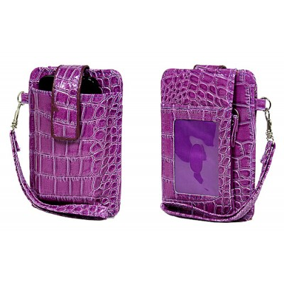 Cell Phone Pouch - Croc Embossed w/ Wristlet & ID Window Slot - Purple -PH-IP4-CR-PL