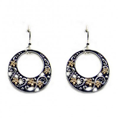 12-pair Western Style Texture Flower Earrings - Two Tone - ER-0033T-TT
