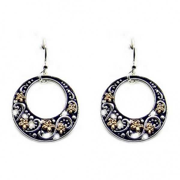 12-pair Western Style Texture Flower Earrings - Two Tone - ER-0033T-TT