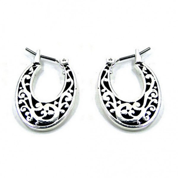 12-pair Western Style Texture Crescent Shape Earrings - ER-0060T-AS