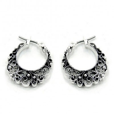 12-pair Western Style Filigree Crescent Shape Earrings - ER-0083T-AS